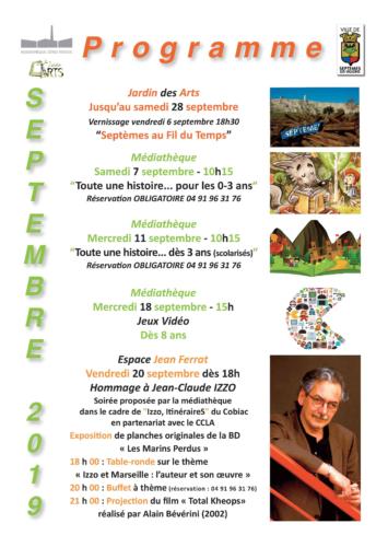 Programme médiathèque et Jardin des Arts septembre 2019