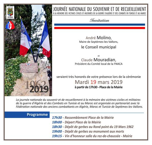 Journée Nationale du souvenir et de recueillement 19 mars 2109