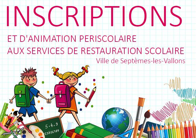 INSCRIPTIONS AUX SERVICES DE RESTAURATION SCOLAIRE ET D'ANIMATION PERISCOLAIRE