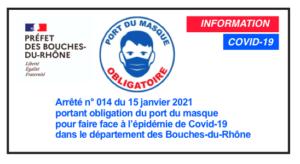 Arrêté n° 014 du 15 janvier 2021 portant obligation du port du masque