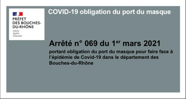 Arrêté préfectoral portant obligation du port du masque