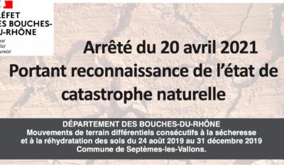 Arrêté du 20 avril 2021 Portant reconnaissance de l'état de catastrophe naturelle