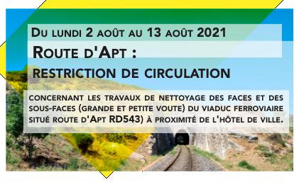 Route d'Apt : restriction de circulation