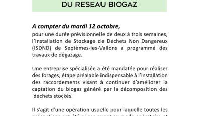 Déchetterie – travaux réseau biogaz